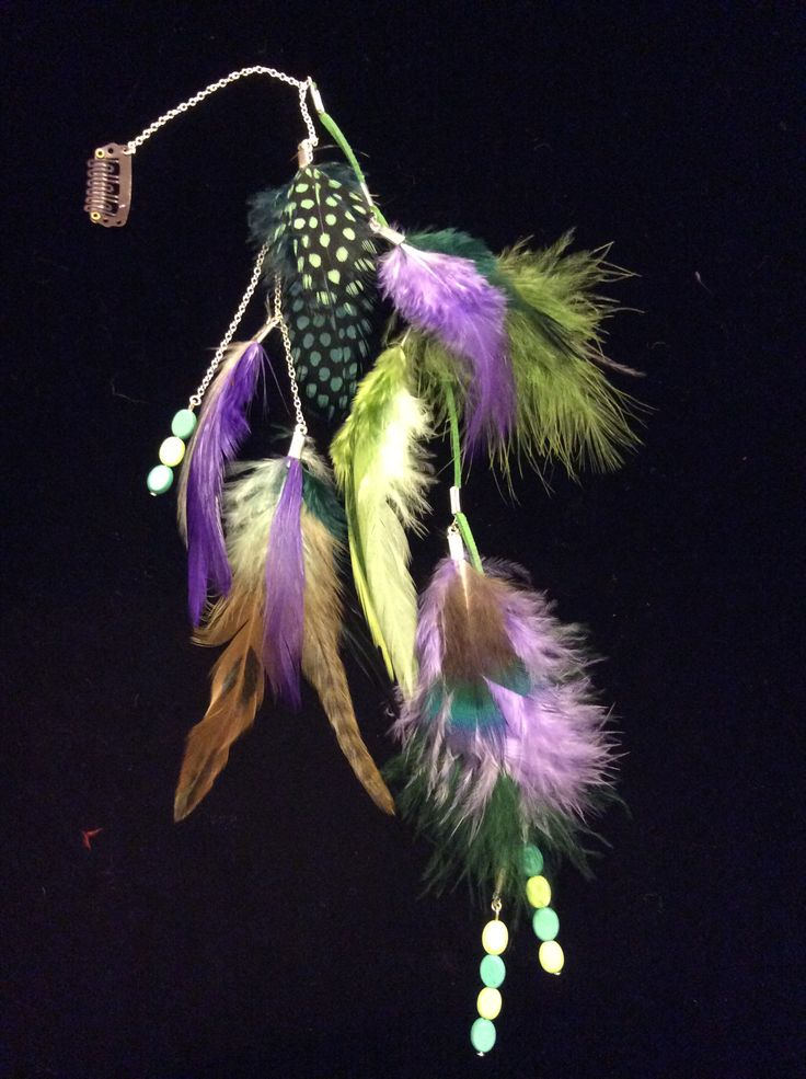Clip in hair feathers jewellery with lime and green howlite.