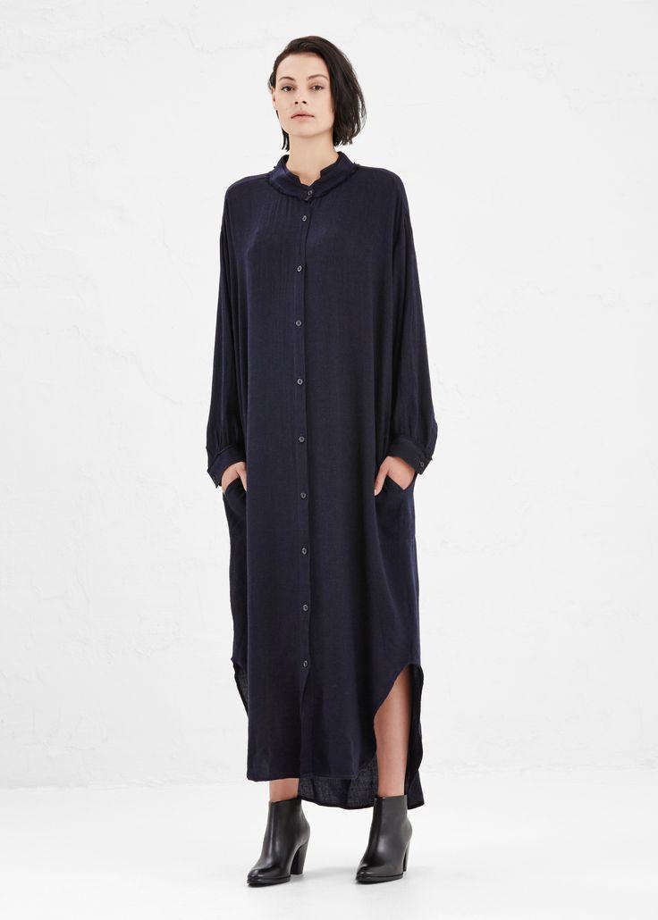 Totokaelo - Black Crane Eggplant Double Collar Dress
