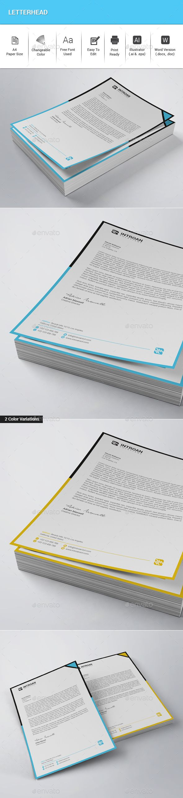#Letterhead - #Stationery Print Templates Download here: https://graphicriver.net/item/letterhead/20109158?ref=alena994