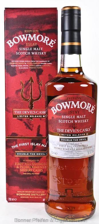 Bowmore Whisky The Devil's Casks Region : Islay nur eine Flasche 56,7 % alc./vol. 0,7l nicht kühlgefiltert mit Farbstoff Fassart : First Fill Oloroso und PX Sherryfässer Abgefüllt in natürlicher Fassstärke Limited Release III