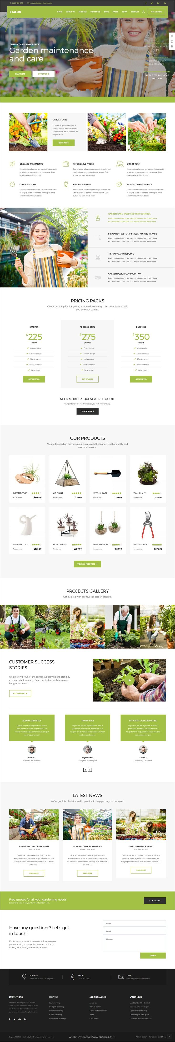 Etalon is clean and modern design multipurpose responsive #WordPress theme for creative #gardener #landscaping professional services website with 15+ niche homepage layouts download now..