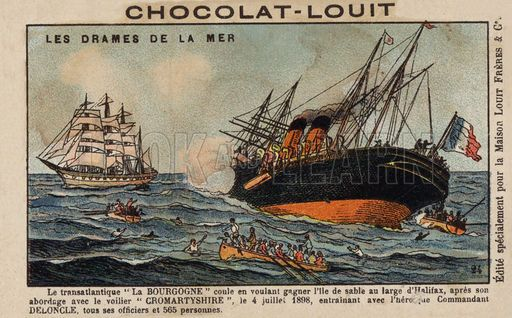 Sinking of the French steamship La Bourgogne after colliding with the British sailing ship Cromartyshire off Sable Island, Nova scotia, 4 July 1898. French educational card, late 19th/early 20th century.