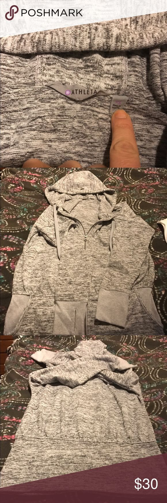 Athleta Zip Up Hoodie- Slightly Used. Size XS Athleta Zip Up Hoodie. Size XS. Grey in color. Slightly used. This was a Christmas gift to me, but I'm too petite and need an XXS in Athleta merchandise. There is no evidence of wear, no tears, no snags, hoodie is in excellent condition. Athleta Tops Sweatshirts & Hoodies