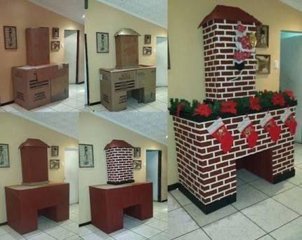 Resultado de imagen para como hacer una chimenea con cajas de carton