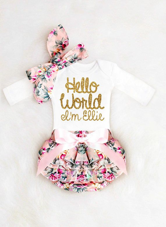 371f18cca Our stunning, personalized baby girl outfit is the perfect choice for her  official Take Home Outfit! Announce her pretty name in style with our  beautiful ...