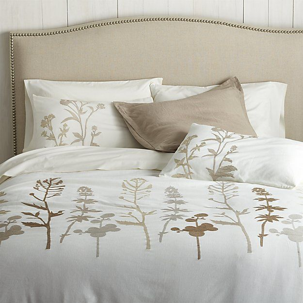 Woodland Natural Duvet Covers and Pillow Shams | Crate and Barrel