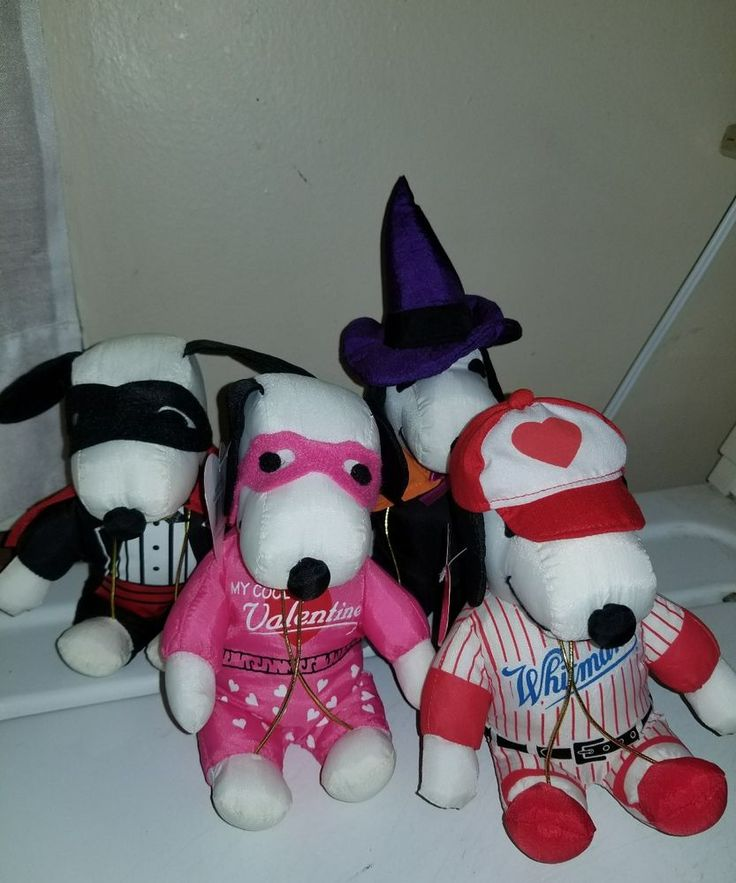 "Lot of 6"" Seasonal Snoopy Plush Dolls 2 Halloween, 2 Valentine Whitman's #Whitemans"
