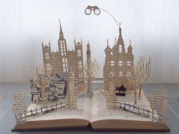 Boek sculptuur boek minnaar cadeau boek kunst boek cadeau literaire cadeau verjaardag verjaardagsgift van Kerstmis voor boek minnaar Tinker Tailor Soldier Spy
