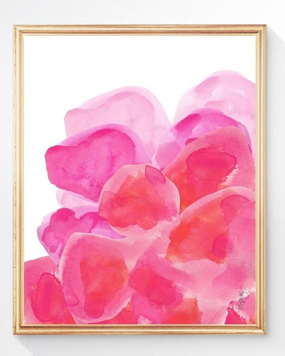 Watercolor Flowers Orange And Pink Art Abstract Flower Etsy