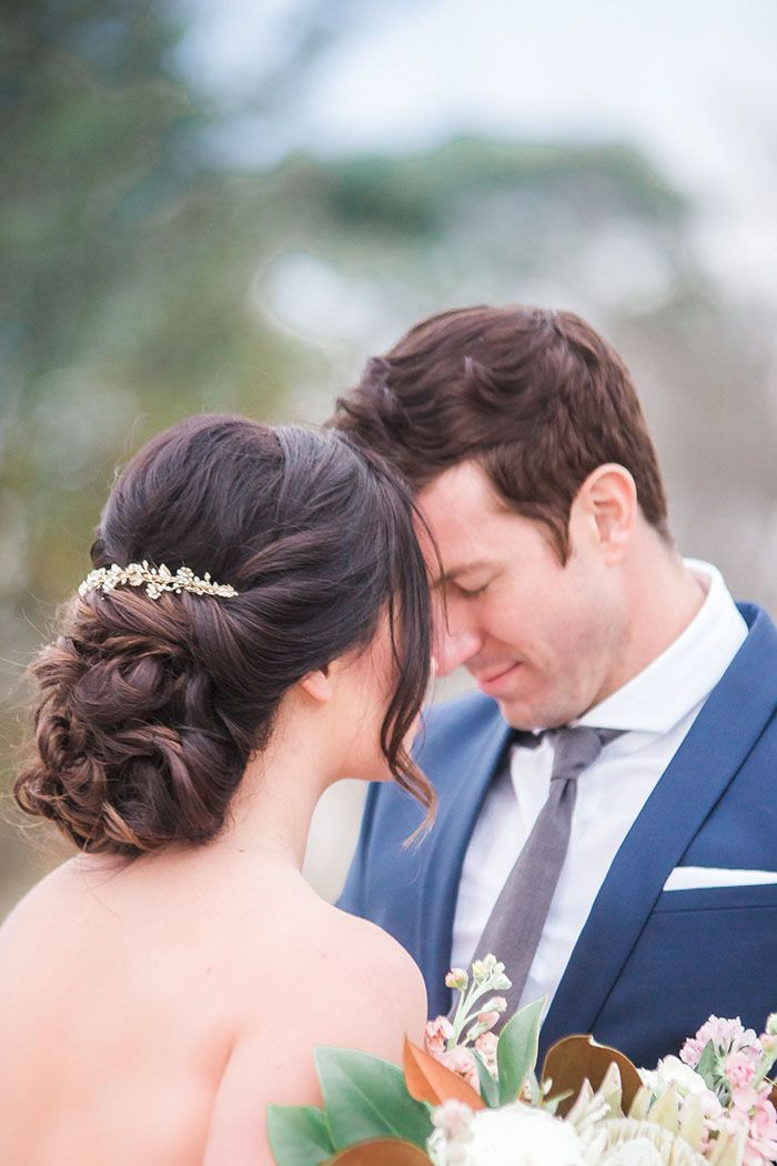 Romantic Bridal Updo with a Gold Headpiece