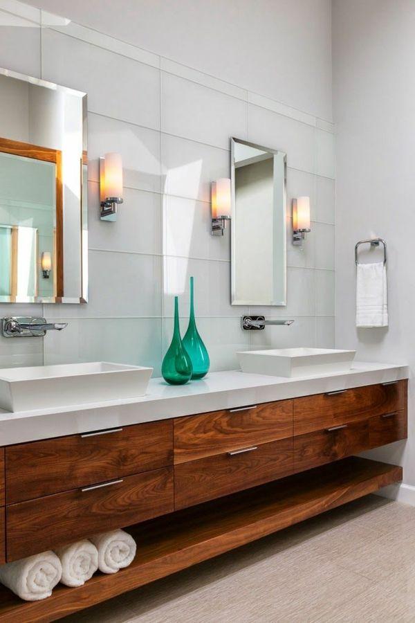 badezimmer holzschrank waschbecken grüne dekoartikel spiegel