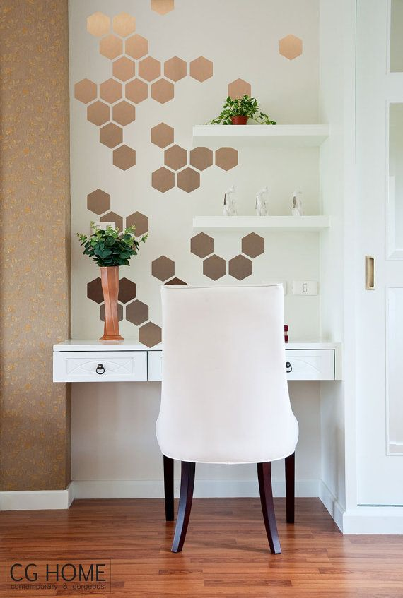 copper HEXAGON decoration GOLD geometric honeycomb WALL decal vinyl at home sticker Home Office Bathroom Bedroom Decor Matte Custom Decals