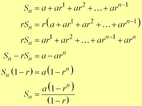 The sum for the finite geometric series