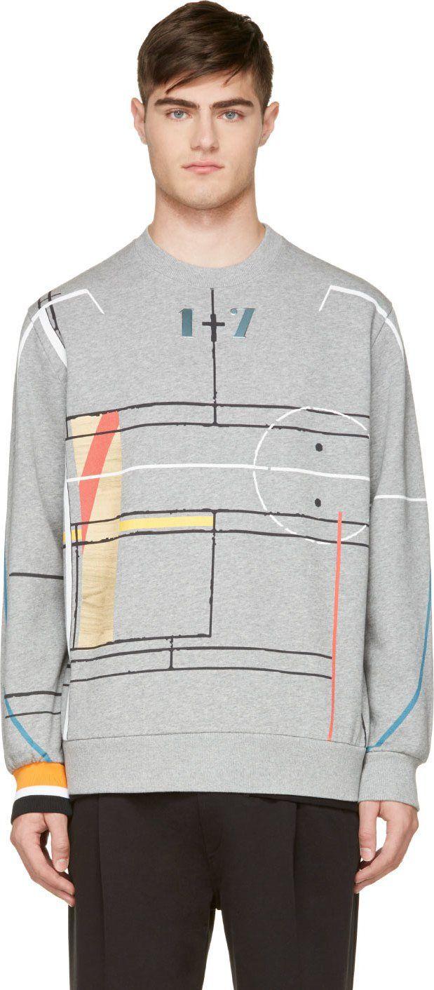 Givenchy: Heather Grey Printed Color Sweatshirt | SSENSE