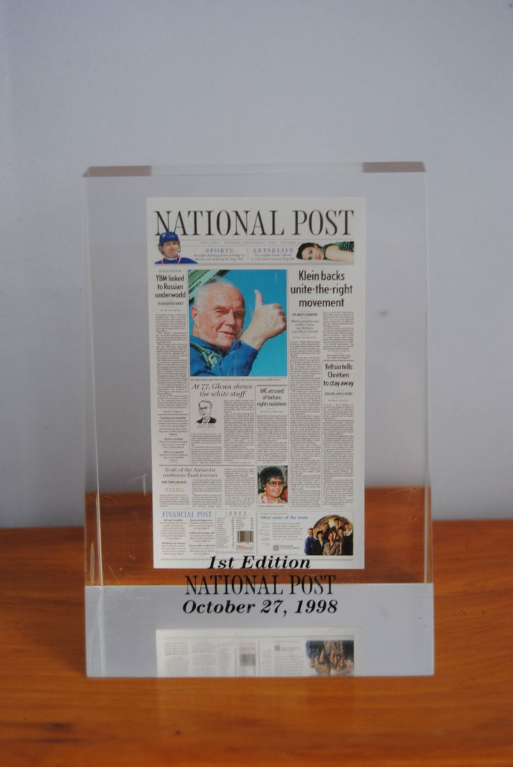 Vintage Lucite paperweight for home or office John Glen 1st Edition National Post 1998 Astronaut desk office decor Space boyfriend gift