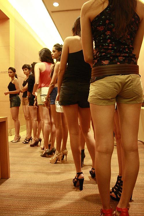 Modelling hopefuls line up outside the audition room to try out for Lakme's winter/festive season in Mumbai