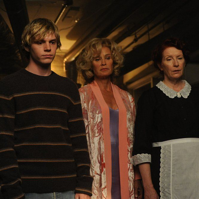 Jessica Lange, Frances Conroy, and Evan Peters in American Horror Story (2011)…