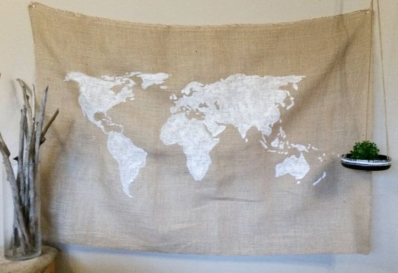 World Map Burlap Tapestry Size: This tapestry comes in the following three sizes: 36x24(3ftx2ft) 48x36(4ftx3ft) Details: The tapestry is of a
