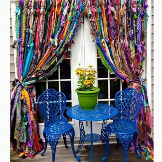 Fabric strips made into rag curtains