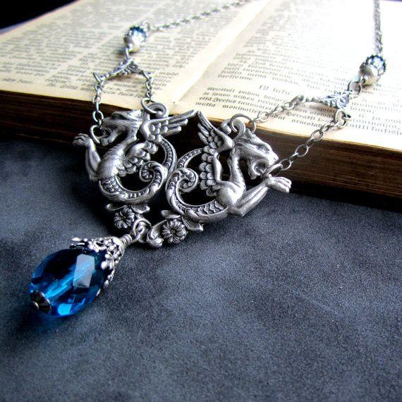 Dragon Necklace  Victorian Gothic Jewelry  Aqua by ArxRosarum, €52.00