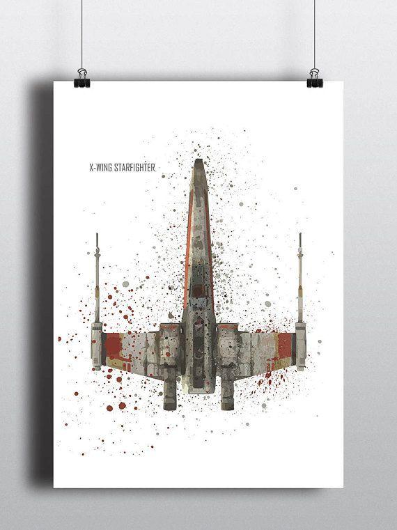 Star Wars Poster Print | Watercolour | Digital Download | X-wing Starfighter | Wall Art | Videogame Art | Star Wars Vehicle | Minimalist