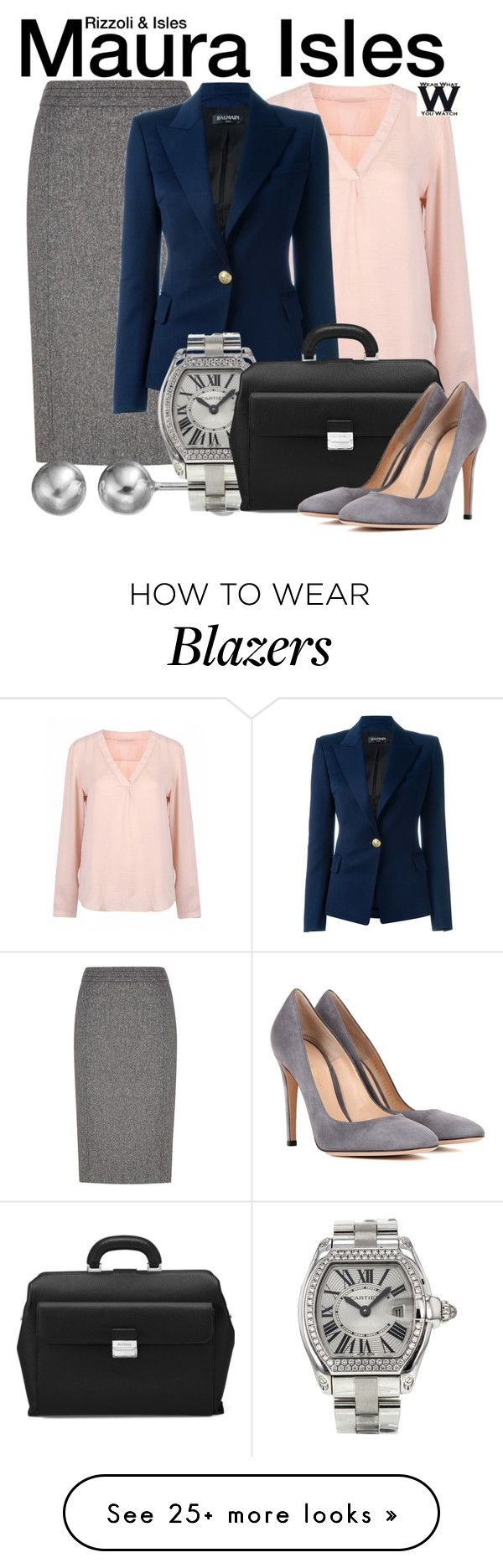 """Rizzoli & Isles"" by wearwhatyouwatch on Polyvore featuring Austin Reed, Balmain, Journee Collection, Cartier, Aspinal of London, Gianvito Rossi, television and wearwhatyouwatch"