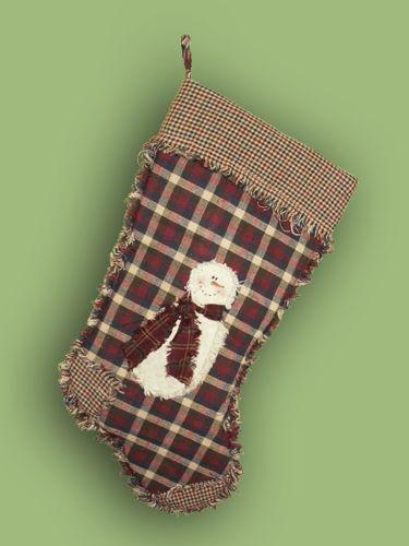 Primitive Christmas Stocking Homespun Snowman