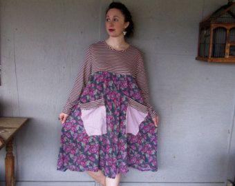 Romantic Bohemian upcycled clothing dress Eco tunic 1 X 2 X hippie gypsy dress flowing dress Artsy Lagenlook dress by LillieNoraDryGoods