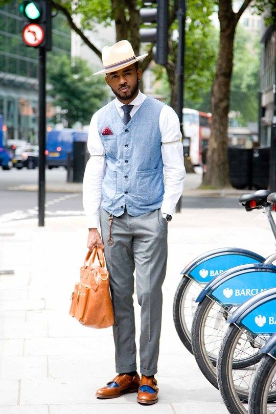 Wearing a Brixton hat, Alban waistcoat,Topman trousers and pocket square
