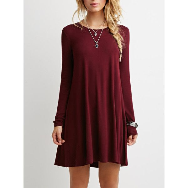 Wine Red Long Sleeve Casual Babydoll Dress ($15) ❤ liked on Polyvore featuring dresses, red, red babydoll dress, shift dress, long sleeve dresses, short dresses and doll dress