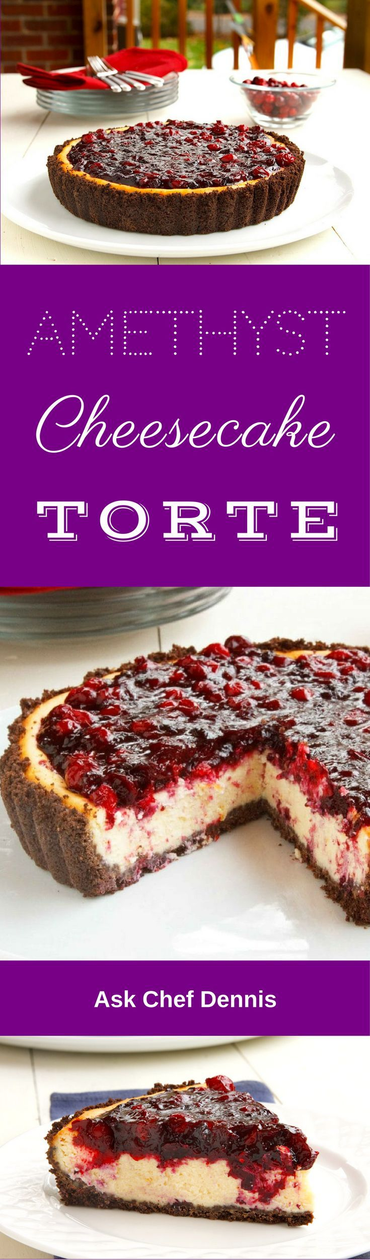Blueberries and Cranberries make up the topping for this Amethyst cheesecake. With a chocolate graham crust, this creamy cheesecake recipe is sure to please a crowd. by Ask Chef Dennis