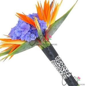 Bird of Paradise and Hydrangea Bridal Bouquet and Grooms Boutonniere