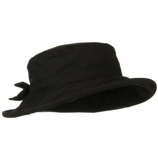 Waxed Cotton Canvas Ladies Wide Brim Bucket Hat - Black at Amazon Women's Clothing store