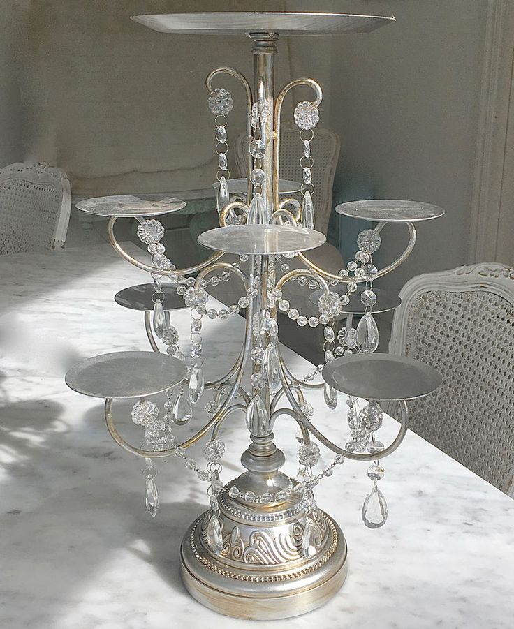 Tall Silver Wedding Birthday Cupcake Candelabra Table Display 3 Tier Cake Stand