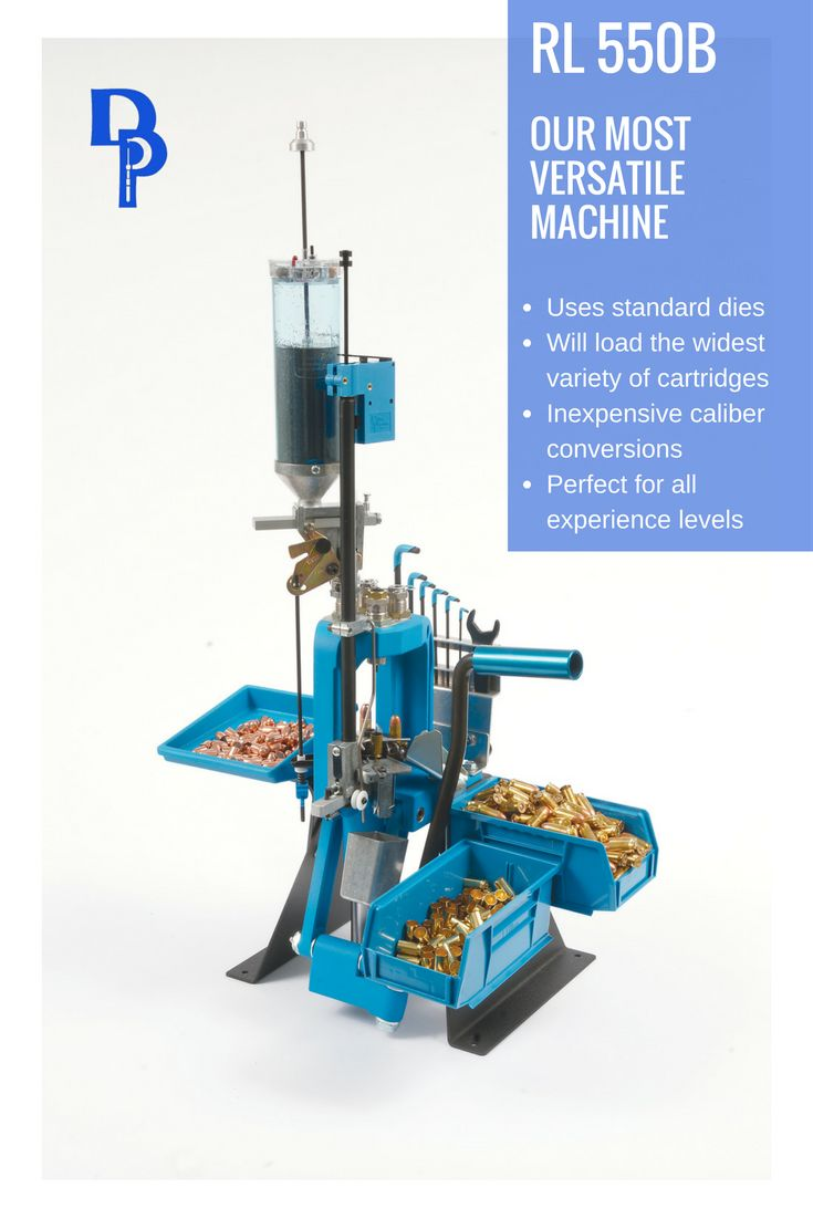 The Dillon RL550B is the most versatile reloading machine in the Dillon Precision Products line. It will accommodate the widest variety of cartridges, from 32 ACP up through 338 Lapua, 416 Rigby and 460 Weatherby.