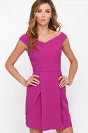 There's not a cloud in sight, and it's looking like a perfect afternoon for the Lovely Day Magenta Off-the-Shoulder Dress! This gorgeous knit poly number starts with a chic off-the-shoulder neckline (with no-slip strip), that tapers into a princess-seamed bodice and fitted waist. Two peplum tiers flutter alongside a box pleat on the sheath skirt. Hidden back zipper with clasp. Bodice is lined. 100% Polyester. Dry Clean Only.