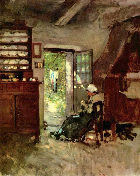 Interior at Vitre, oil, by Grigorescu, Romanian impressionist, 1838-1907.  Grigorescu was among the founders of modern Romanian art, and this painting is in the Museum of Art in Bucharest, Romania.