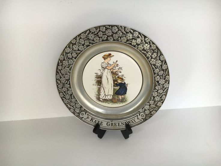 Vintage 1973 Kate Greenaway Wilton Pewter Porcelain Insert Victorian Children Charger Plate by TheDustyWingVintage on Etsy