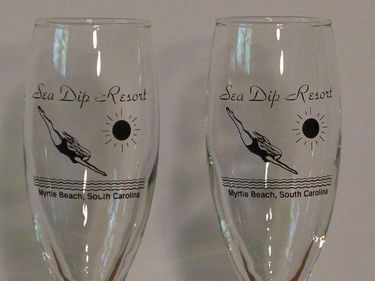 VTG Champagne Glass Myrtle Beach SC/Sea Dip Resort, Tulip Flute Barware Set/2