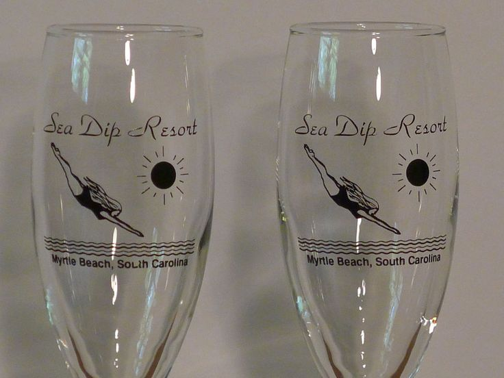 VTG Champagne Glass Myrtle Beach SC/Sea Dip Resort, Tulip Flute Barware Set/2