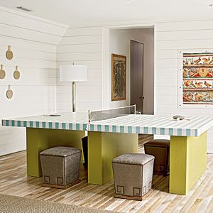 2012 Ultimate Beach House Room Tour | Game Room | Double Duty: A Ping-Pong table painted with beachy seafoam green cabana stripes is a stylish treat. Remove the net and it transforms into an extra dining table perfect for seating kids.