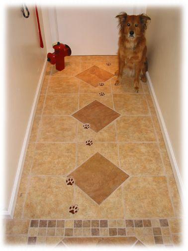 Dog track ceramic tiles for mud room retirement home for Floor print