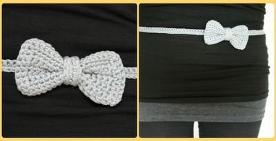 Bow belt crochet pattern- but easy to figure out! Red bow belt with navy and white stripe dress for my little girl!!