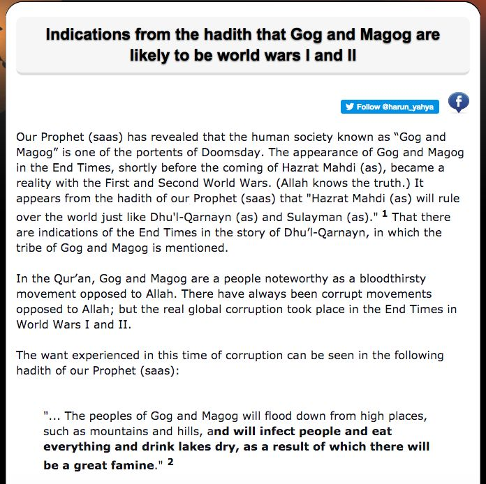 Indications from the hadith that Gog and Magog are likely to be world wars I and II