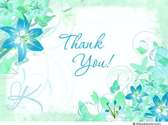 aqua lilies thank you card