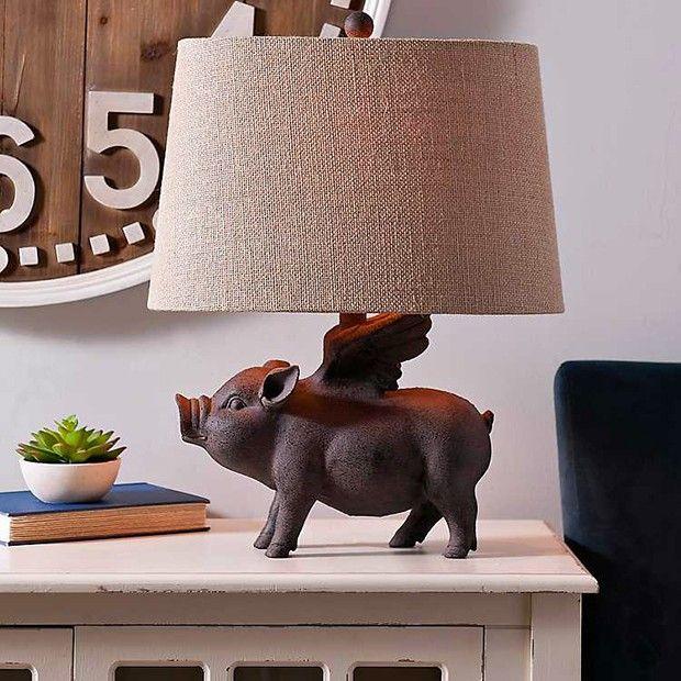 Flying Pig Lamp In 2020 Pig Decor Flying Pig Pig Kitchen