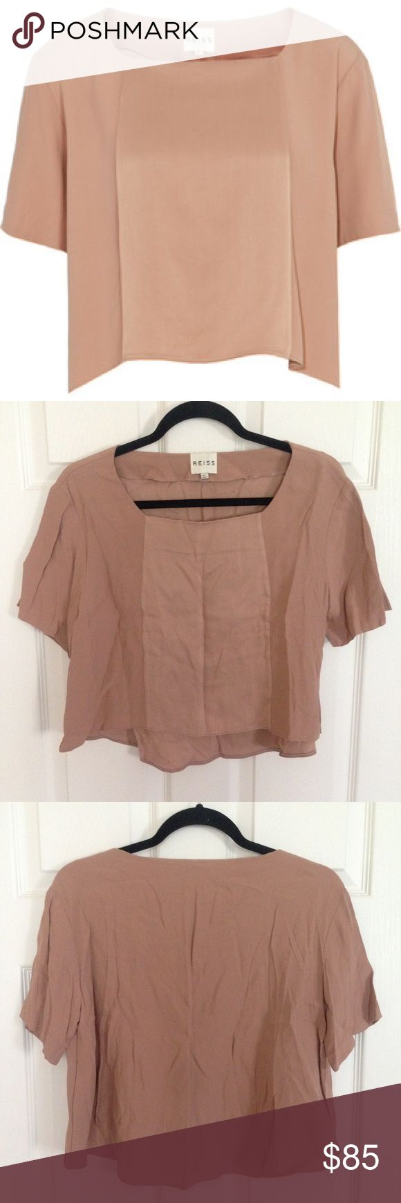 Reiss Top Absolutely gorgeous Reiss archie two fabric top size 4. Beautiful color that goes with everything. Looks amazing on. Excellent condition, only needs to be ironed due to it being stored away in a vacuum bag. Retails for $170. Completely sold out. Reiss Tops Crop Tops