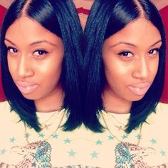 quick weave bob with middle part - Google Search