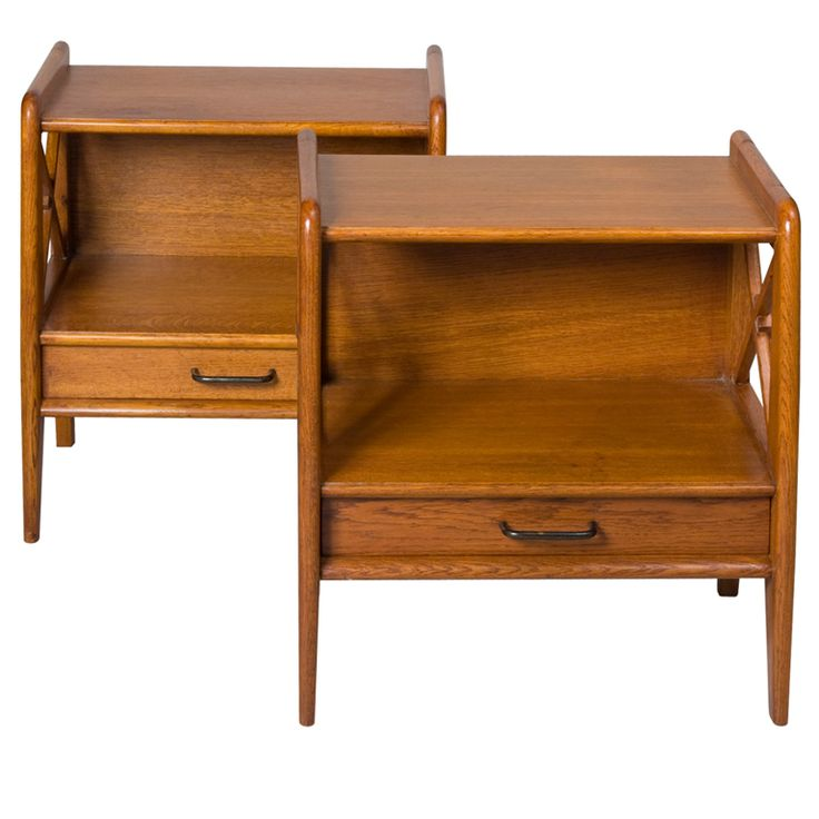 Pair Of Single Drawer Oak End Tables By Jacques Adnet