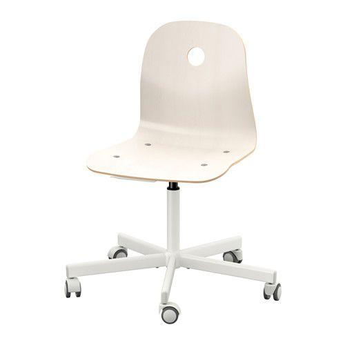 IKEA - VÅGSBERG / SPORREN, Silla giratoria, blanco, , La altura de la silla se puede regular y te ofrece la máxima comodidad. Silla para los dos dormitorios de los niños. Hay una en color madera para valorar el tono para la habitación de Jaime.